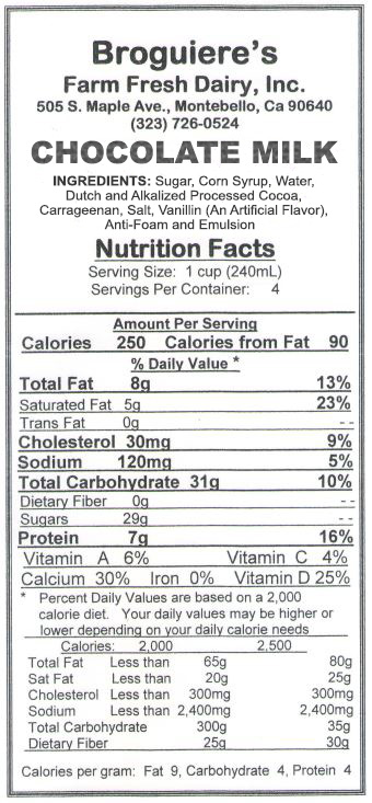 Broguiere's Chocolate Milk Nutrition Facts
