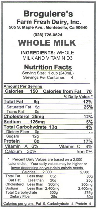 Broguiere's Whole Milk Nutrition Facts